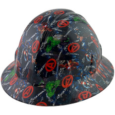 Avengers Design Full Brim Hydro Dipped Hard Hats ~Oblique View