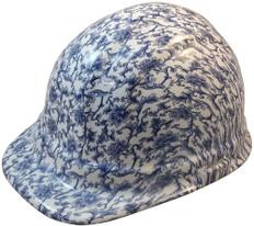 Blue Floral Hydrographic CAP STYLE Hardhats - Ratchet Liner~ Oblique View