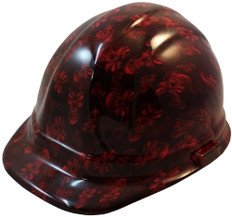 Hades Small Skull Red Hydrographic CAP STYLE Hardhats - Ratchet Liner ~ Oblique View