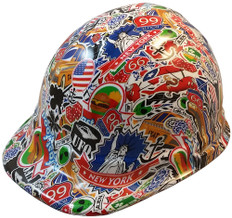 Route 66 Sticker Bomb Hydro Dipped Hydrographic CAP STYLE Hardhats - Ratchet Suspension ~ Oblique View