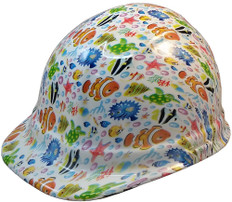 Cartoon Fish Hydro Dipped Hard Hats Cap Style Design - Ratchet Suspension ~ Oblique View
