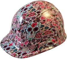 Sugar Skulls Hydro Dipped Hard Hats, Cap Style Design - Ratchet Suspension ~ Oblique View