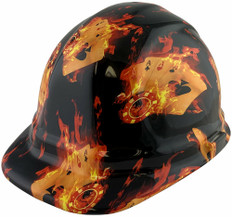 Flaming Aces Design Hydro Dipped Hard Hats, Cap Style Design - Ratchet Liner ~ Oblique View