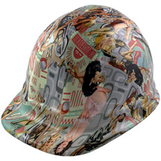 Vintage Pin Up Girls Design Cap Style Hydro Dipped Hard Hats - Ratchet Liner ~ Oblique View