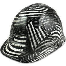 Black and White USA Flag Design Cap Style Hydro Dipped Hard Hats - Ratchet Liner ~ Oblique View