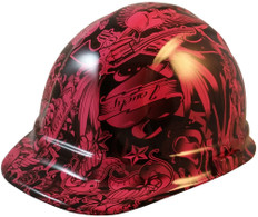 Tattoo Raspberry Design Hydro Dipped Hydrographic CAP STYLE Hardhats - Ratchet Liner ~ Oblique View