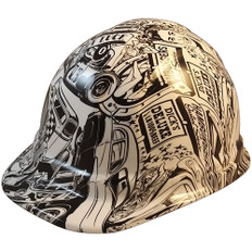 Hot Rod Hydro Dipped Hard Hats Cap Style Design - Ratchet Liner ~ Oblique View