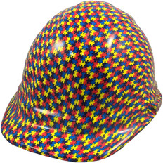 Autism Puzzle Hydro Dipped Hard Hats Cap Style Design with Autism Puzzle Hydro Dipped Hard Hats Cap Style Design with Ratchet Liner ~ Oblique View