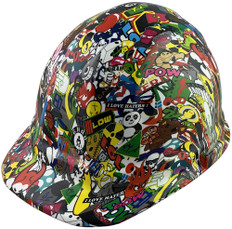 Sticker Bomb 5 Hydro Dipped Hard Hats Cap Style Design with Ratchet Suspensions ~ Oblique View  ~ Right Side View