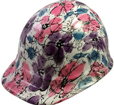Flower Design Hydro Dipped Hard Hats Cap Style with Ratchet Liner ~ Oblique View