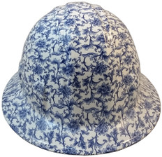 Blue Floral Hydro Dipped Hard Hats Full Brim Style ~ Front View