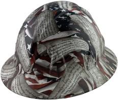 Second Amendment Design Full Brim Hydrographic Hard Hats ~ Oblique View
