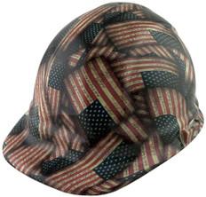 Large Second Amendment Flag Design Cap Style Hydro Dipped Hard Hats ~ Oblique View