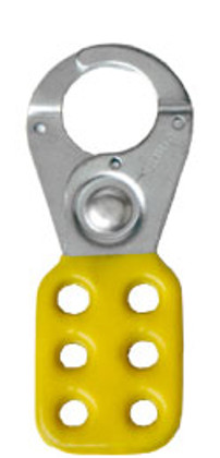 Rack Em #RE5512 Lockout Safety Hasps 1 inch Steel with Yellow Rubberized Coating