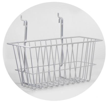 Rack Em # RE5081-W Wire Basket Safety Supplies Holders 12x6x6, White