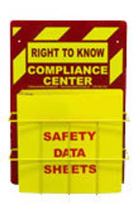 "Right-To-Know Center With Sign, Wire Rack & MSDS Binder (3"" Diameter Rings) - English"