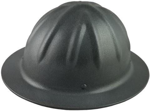 Skull Bucket #ML-SBF-TGM Aluminum Full Brim Safety Hardhats with Ratchet Liners - Textured Gun Metal - Oblique View