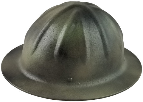 Skull Bucket #SBF-TCM Aluminum Full Brim Safety Hardhats with Ratchet Liners - Textured Camo - Oblique View