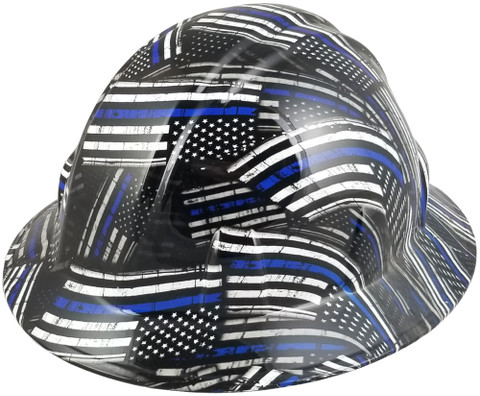 HDHH-1641-FB Blue Lives Matter FULL BRIM Hardhats - Ratchet Suspension ~ Oblique View