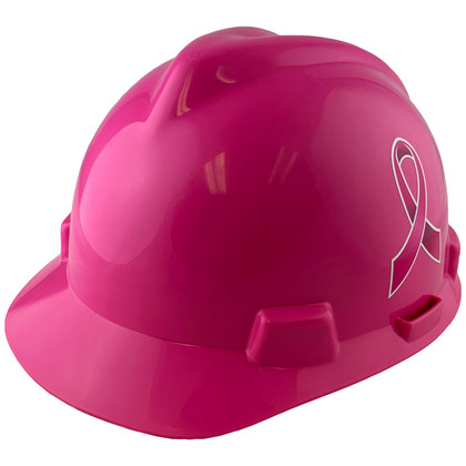 MSA #10155230-BC Breast Cancer Awareness Ribbon V-Gard Cap Style Safety Hardhats with Fas-Trac III Liners - Hot Pink