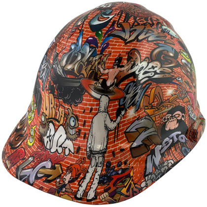 Orange Graffiti Hydrographic CAP STYLE Hardhats  ~ Oblique View