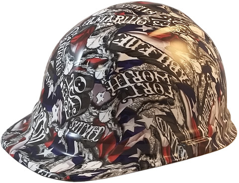 Sweet Home Texas Hydro Dipped Hard Hats Cap Style Design - Ratchet Liner ~ Oblique View