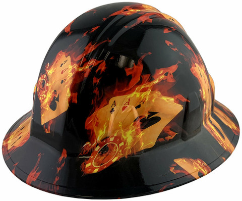 Flaming Aces Design Full Brim Hydro Dipped Hard Hats ~  Oblique View