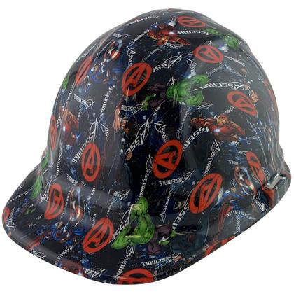 Avengers Design Hydro Dipped Hard Hats, Cap Style Design - Ratchet Liner