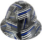 HDHH-1641-FB Blue Lives Matter FULL BRIM Hardhats - Ratchet Suspension ~ Front View