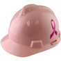 MSA #495862-BC Breast Cancer Awareness Ribbon V-Gard Cap Style Safety Hardhats with Fas-Trac III Liners - Light Pink