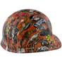 Orange Graffiti Hydrographic CAP STYLE Hardhats  ~ Right Side View