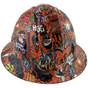 Orange Graffiti Design FULL BRIM Hardhats -  Front View