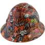 Orange Graffiti Design FULL BRIM Hardhats -  Oblique View