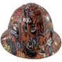 Orange Graffiti Full Brim Hydro Dipped Hard Hats ~ Front View
