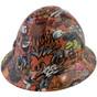 Orange Graffiti Full Brim Hydro Dipped Hard Hats  ~  Oblique View