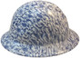 Blue Floral Hydro Dipped Hard Hats Full Brim Style ~ Left Side View
