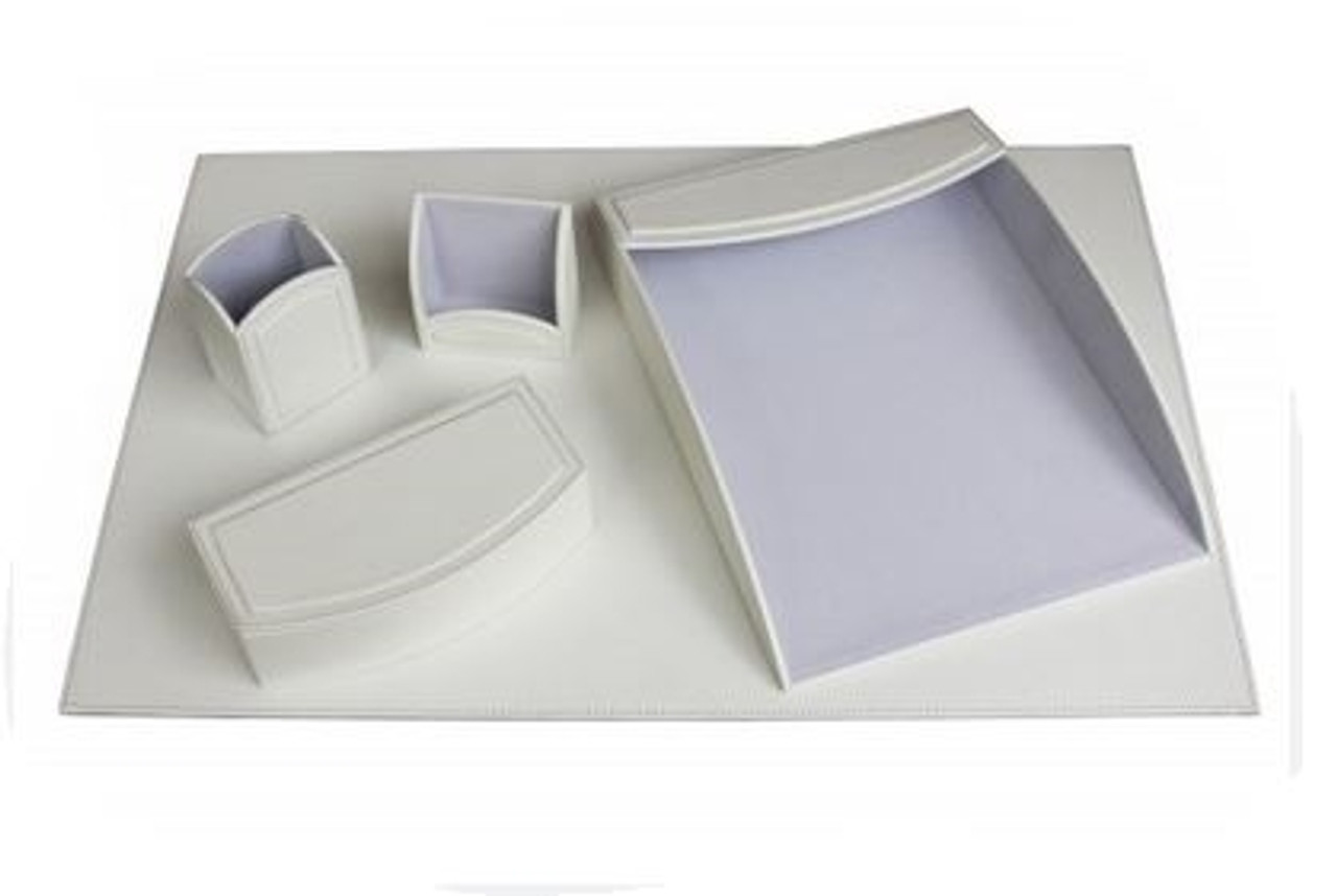 Dacasso Colors White Faux Leather Desk Organizing Set
