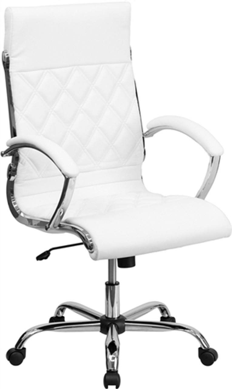 Flash Furniture High Back Designer White Leather Executive Chair with  Chrome Base