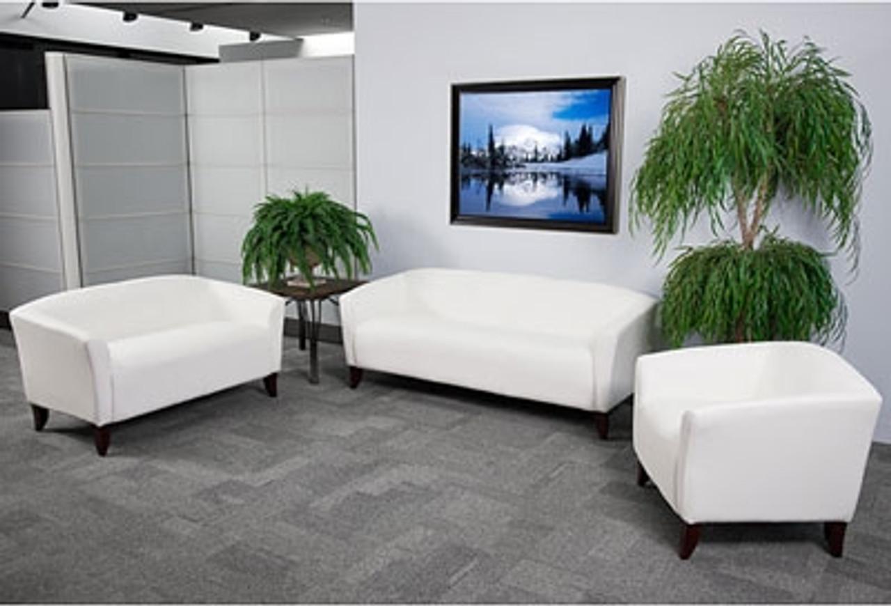 Flash Furniture Imperial White Leather Furniture Set