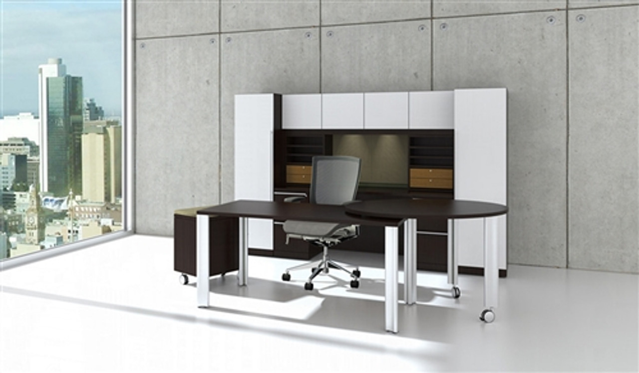 Cherryman Verde Modern White Glass Executive Desk Set VL-707N
