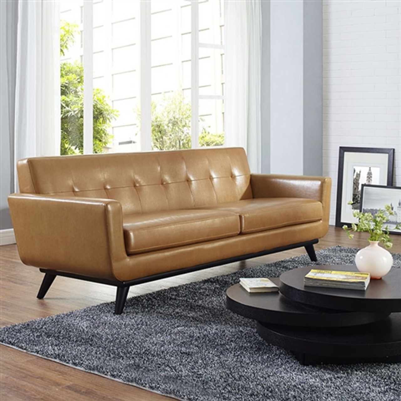 - Modway Engage Bonded Leather Mid Century Sofa