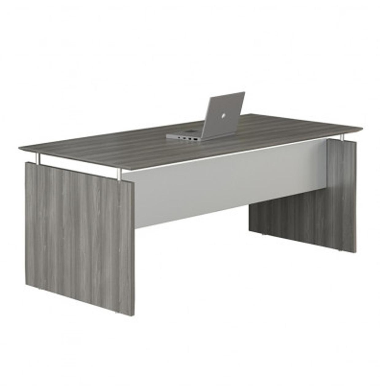 "Mayline Medina 35"" x 35"" Straight Front Gray Steel Laminate Desk"