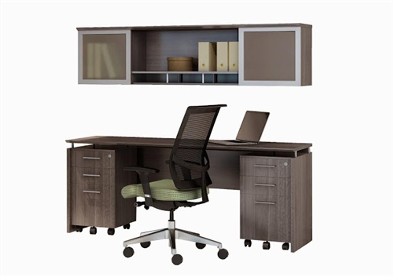 mayline medina 72 gray steel credenza desk set