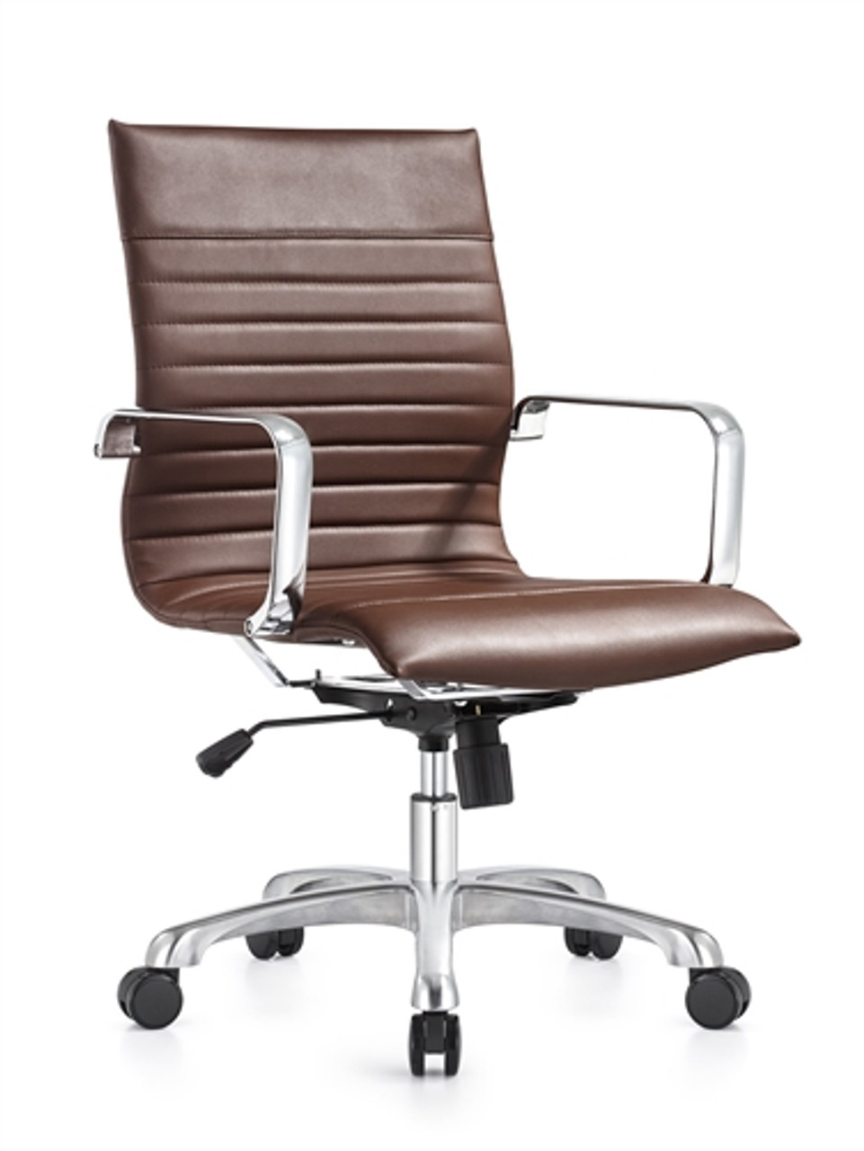 Janis Euro Brown Leather Ribbed Back Office Chair