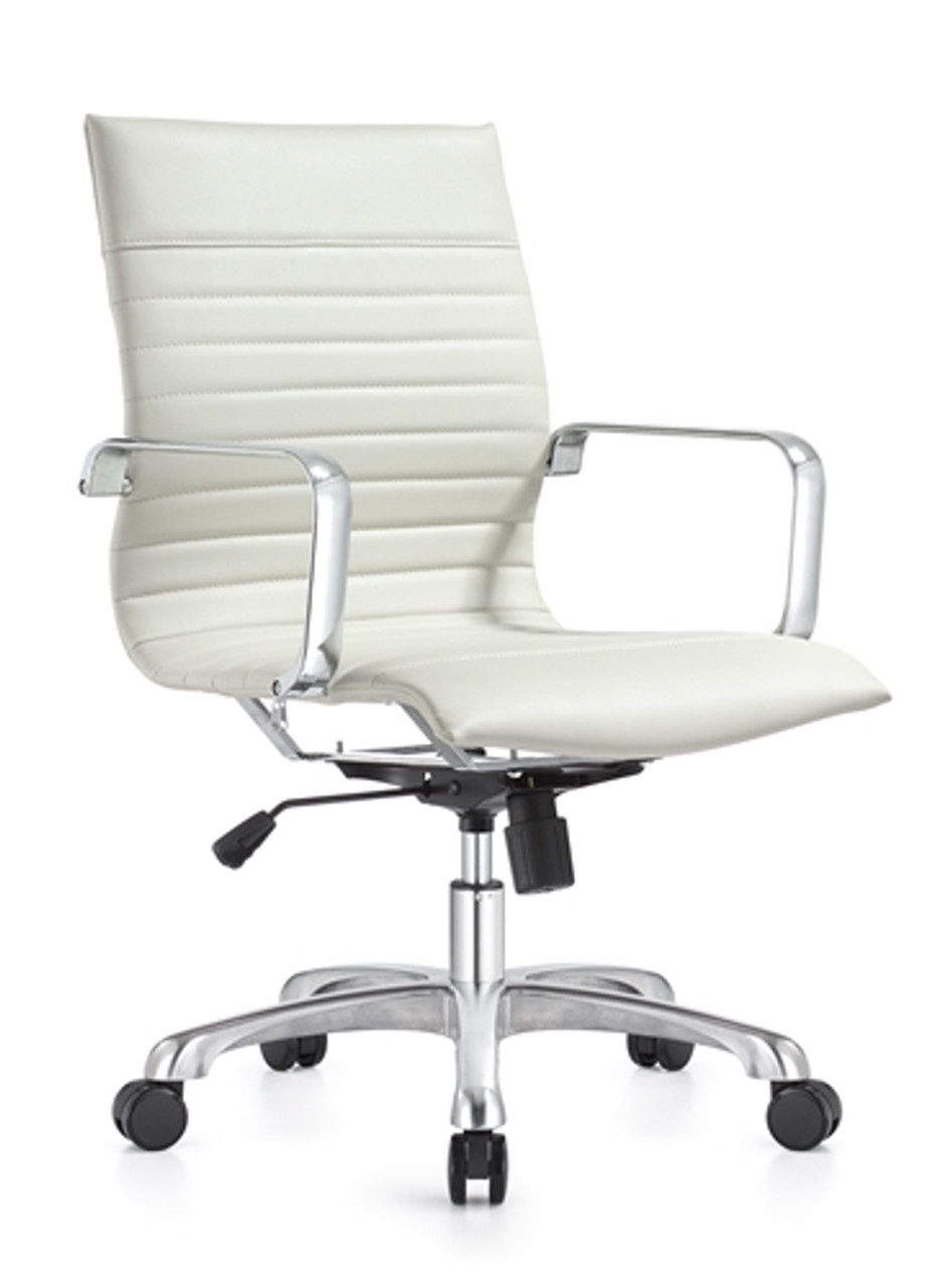 Janis Mid Century White Leather Office Chair