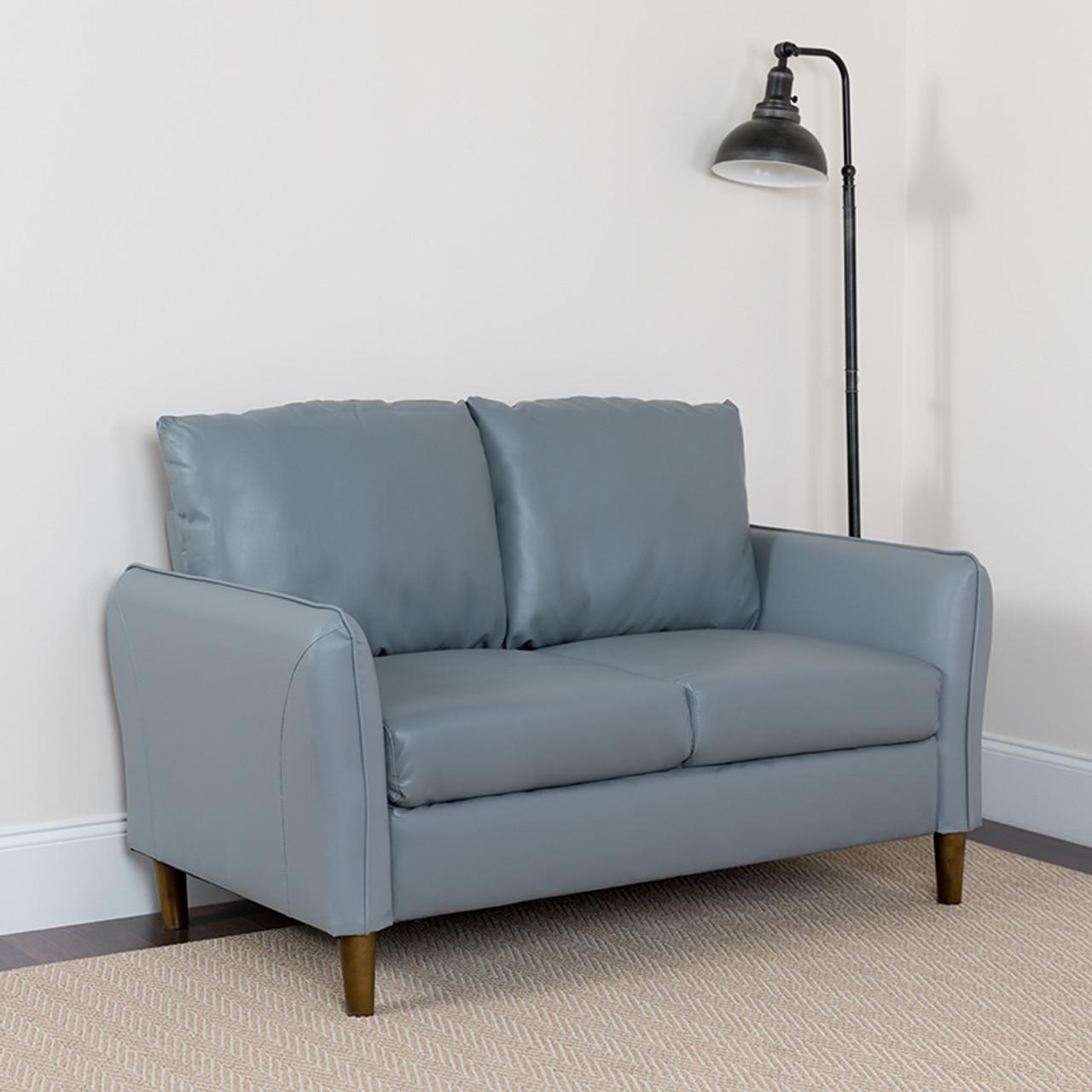 Picture of: Flash Furniture Milton Park Plush Gray Leather Pillow Back Loveseat