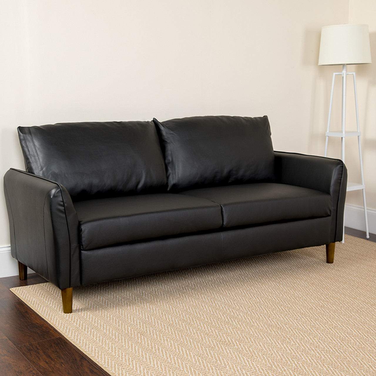 Flash Furniture Milton Park Plush Black Leather Pillow Back Sofa