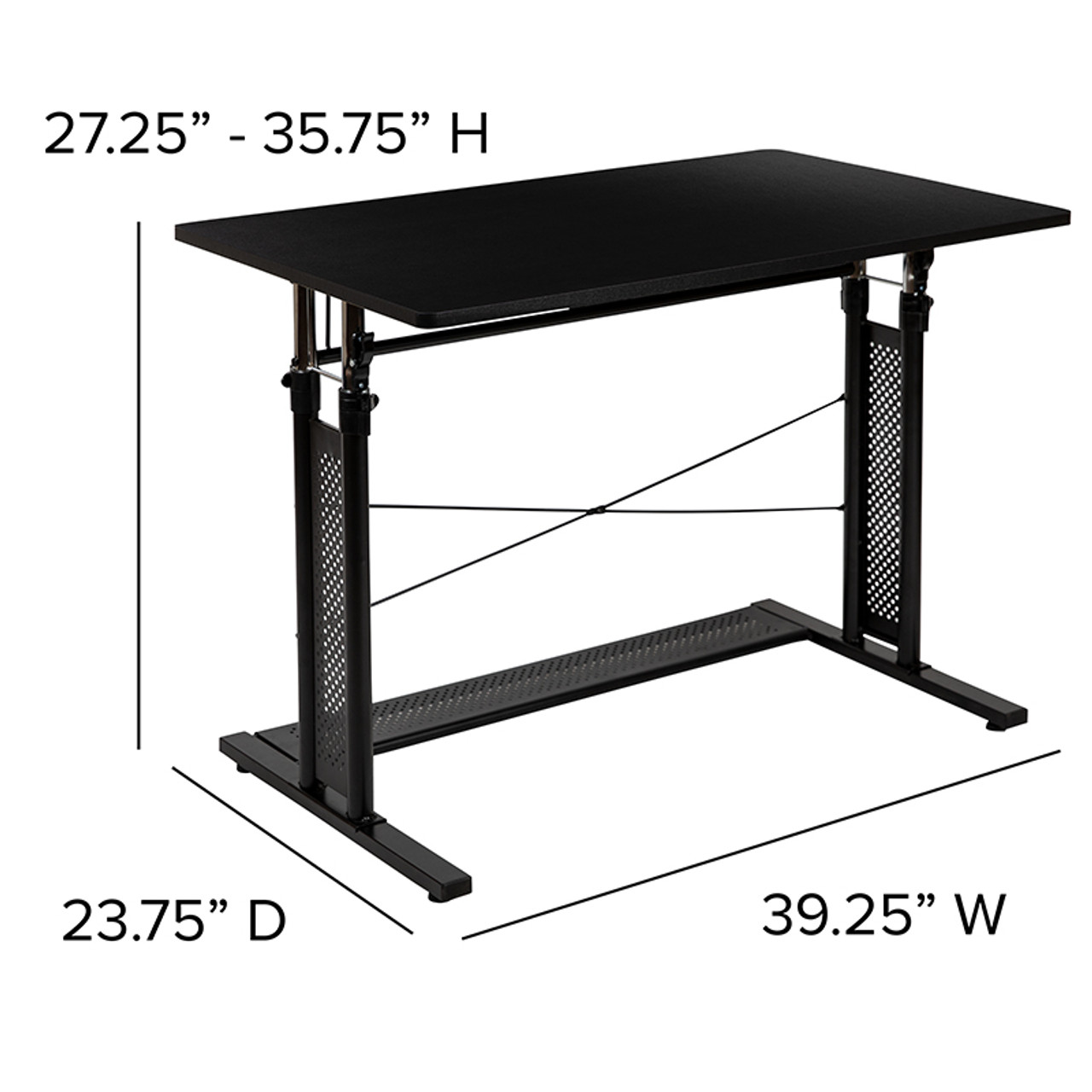 Flash Furniture Small Black Height Adjustable Computer Table
