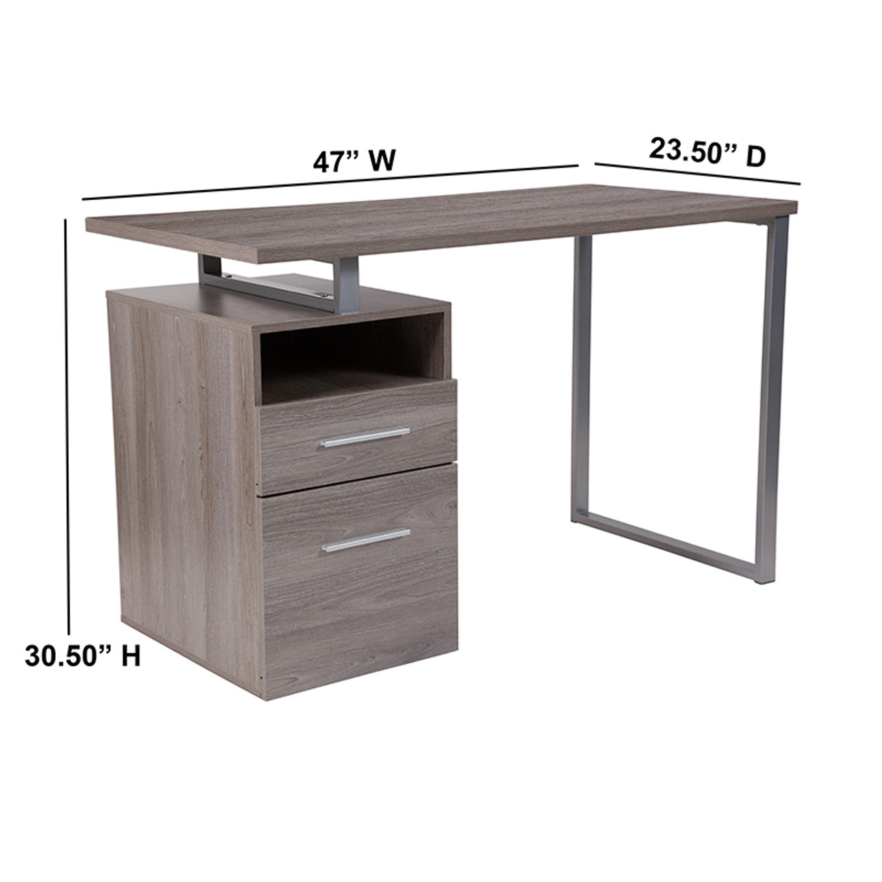 Flash Furniture Harwood Light Ash Wood Grain Finish Computer Desk with Two  Drawers and Silver Metal Frame