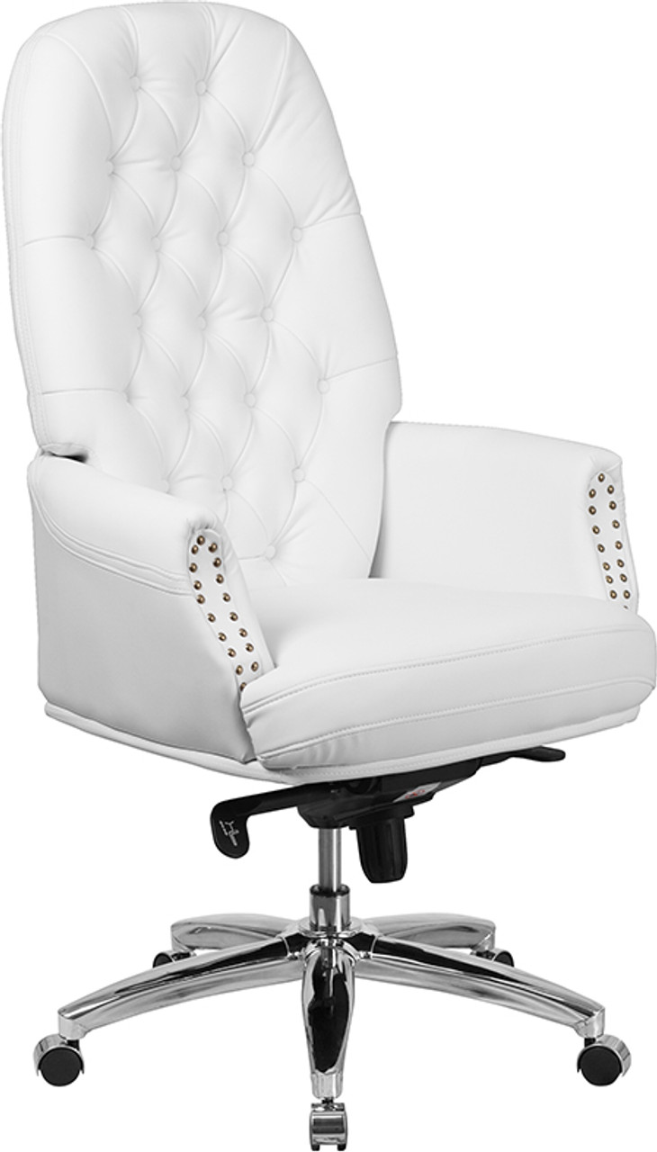 Flash Furniture Traditional White Leather Tufted Executive Chair